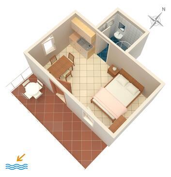 Grebaštica, Plan kwatery w zakwaterowaniu typu studio-apartment, WIFI.