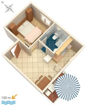 Rogoznica, Plan kwatery w zakwaterowaniu typu apartment, WIFI.