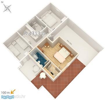Rogoznica, Plan in the studio-apartment, WIFI.