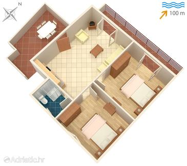 Arbanija, plattegrond in the apartment, (pet friendly) en WiFi.