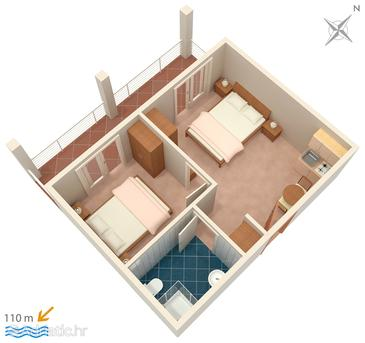 Podstrana, Plan in the apartment.
