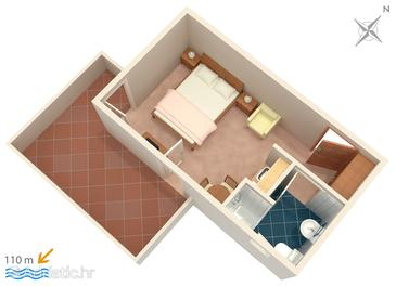 Podstrana, Plan in the studio-apartment.