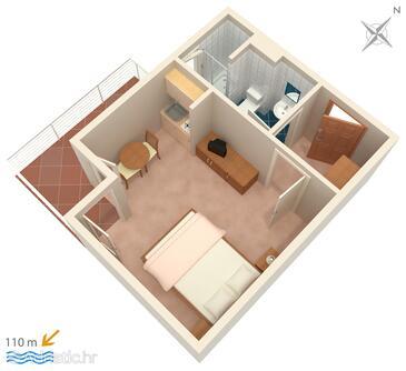 Podstrana, Plan in the studio-apartment.