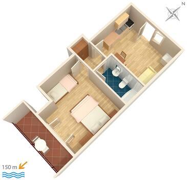 Podgora, Pôdorys v ubytovacej jednotke apartment, WIFI.