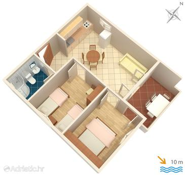 Lavdara, Plan in the apartment, (pet friendly).