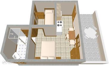 Lavdara, Plan kwatery w zakwaterowaniu typu studio-apartment, zwierzęta domowe są dozwolone.