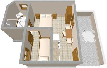 Lavdara, Pôdorys v ubytovacej jednotke studio-apartment, dopusteni kucni ljubimci.