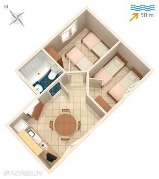 Korčula, Plan in the apartment, dopusteni kucni ljubimci.