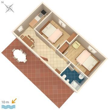 Veli Rat, Půdorys v ubytování typu apartment, domácí mazlíčci povoleni a WiFi.