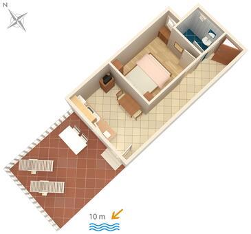 Veli Rat, Pôdorys v ubytovacej jednotke apartment, dopusteni kucni ljubimci i WIFI.