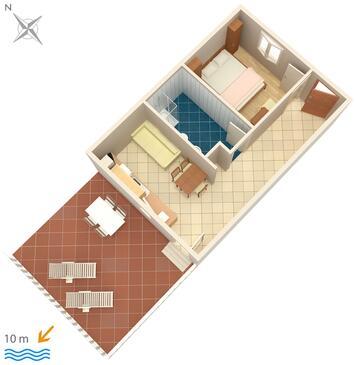 Veli Rat, Pôdorys v ubytovacej jednotke apartment, domáci miláčikovia povolení a WiFi.