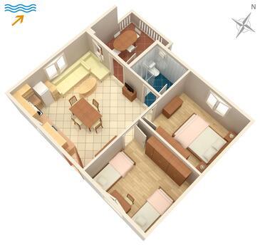 Veli Rat, Půdorys v ubytování typu apartment, WiFi.