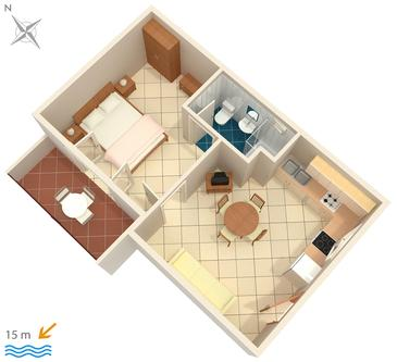 Lumbarda, Plan kwatery w zakwaterowaniu typu apartment, WIFI.