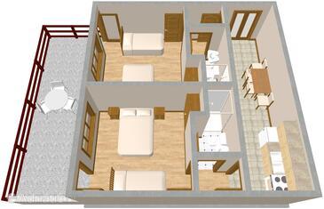Luka, План в размещении типа apartment, Домашние животные допускаются и WiFi.