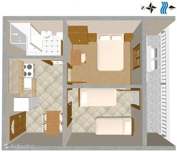 Sali, Půdorys v ubytování typu apartment, WiFi.