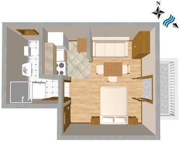 Sali, Plan kwatery w zakwaterowaniu typu studio-apartment, WIFI.