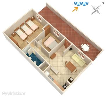 Lumbarda, Plan in the apartment, (pet friendly) and WiFi.