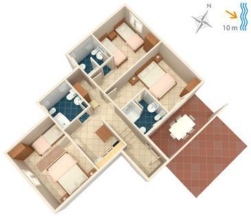 Korčula, Plan kwatery w zakwaterowaniu typu apartment, WIFI.