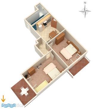 Zavalatica, Půdorys v ubytování typu apartment, WiFi.