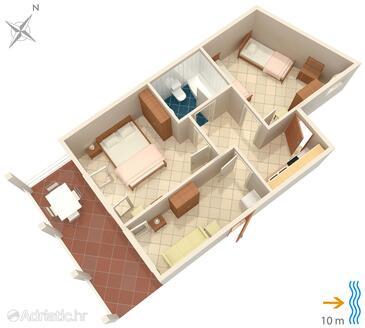 Zavalatica, Alaprajz szállásegység típusa apartment, WiFi .