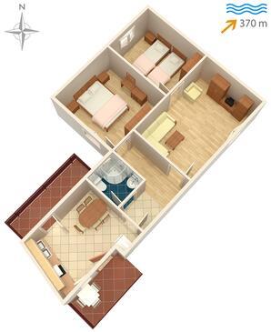 Sali, Plan in the apartment, dopusteni kucni ljubimci i WIFI.
