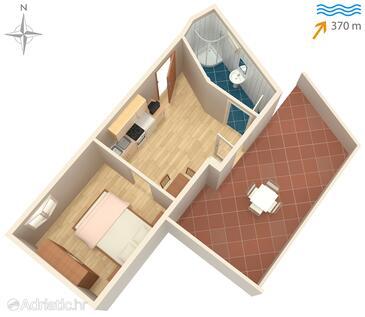 Sali, Půdorys v ubytování typu studio-apartment, domácí mazlíčci povoleni a WiFi.