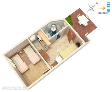 Žman, Plan in the apartment, (pet friendly) and WiFi.