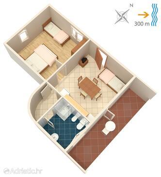 Žman, Půdorys v ubytování typu apartment, domácí mazlíčci povoleni a WiFi.