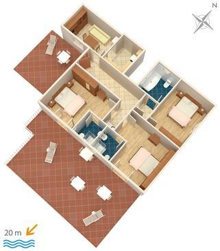 Kučište - Perna, Plan in the apartment, WIFI.