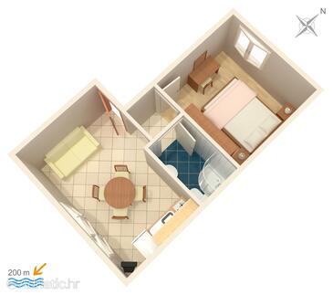 Orebić, Půdorys v ubytování typu apartment, WiFi.