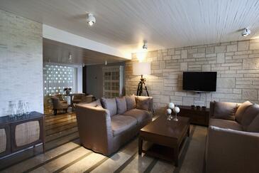 Orebić, Dnevna soba v nastanitvi vrste house, dostopna klima in WiFi.