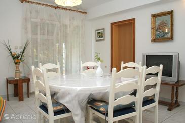 Kučište - Perna, Sufragerie în unitate de cazare tip apartment, animale de companie sunt acceptate şi WiFi.