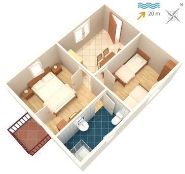 Drače, Plan kwatery w zakwaterowaniu typu apartment, dopusteni kucni ljubimci i WIFI.