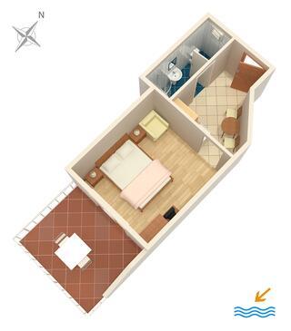 Orebić, Plan kwatery w zakwaterowaniu typu studio-apartment, WIFI.