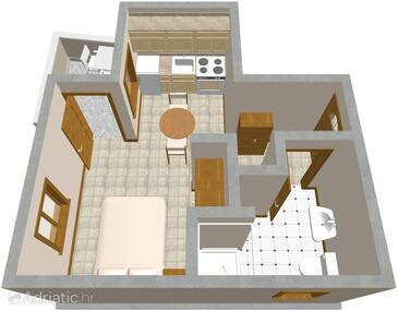 Žman, Plan in the studio-apartment, dopusteni kucni ljubimci.