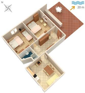Sreser, Plan kwatery w zakwaterowaniu typu apartment.
