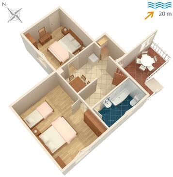 Sreser, Plan kwatery w zakwaterowaniu typu apartment, zwierzęta domowe są dozwolone.