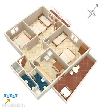 Drače, Plan in the apartment, (pet friendly).