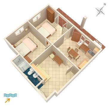 Drače, Půdorys v ubytování typu apartment, domácí mazlíčci povoleni.