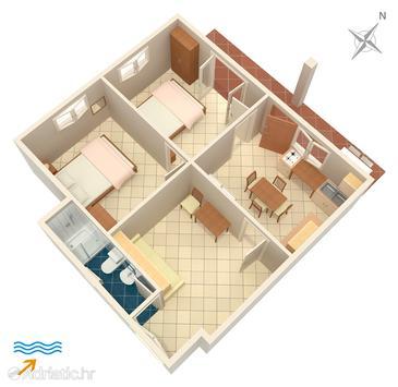 Drače, План в размещении типа apartment, Домашние животные допускаются.