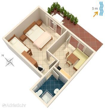 Trstenik, Alaprajz szállásegység típusa apartment, WIFI.