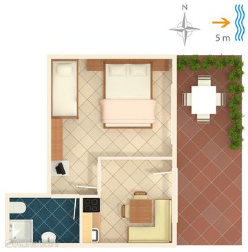 Trstenik one bedroom apartment near beach a 4566 a for Apartment wifi plans