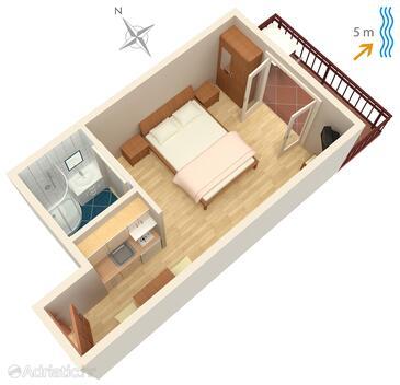 Trstenik, Alaprajz szállásegység típusa studio-apartment, WIFI.