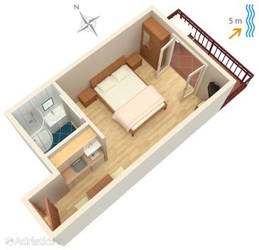 Trstenik, Plan dans l'hébergement en type studio-apartment, WiFi.