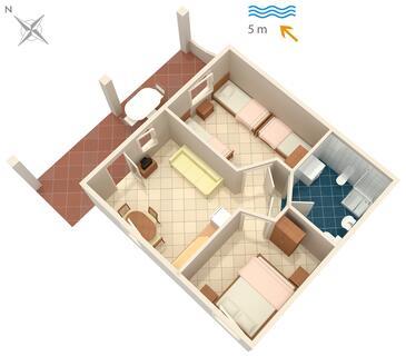Luka Dubrava, Plan kwatery w zakwaterowaniu typu apartment, dopusteni kucni ljubimci i WIFI.