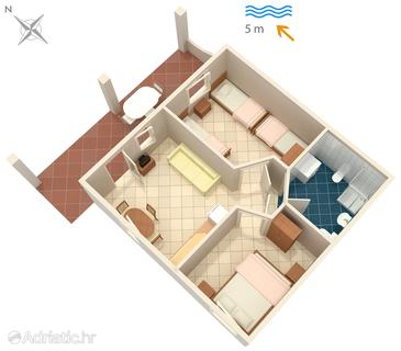 Luka Dubrava, Půdorys v ubytování typu apartment, domácí mazlíčci povoleni a WiFi.