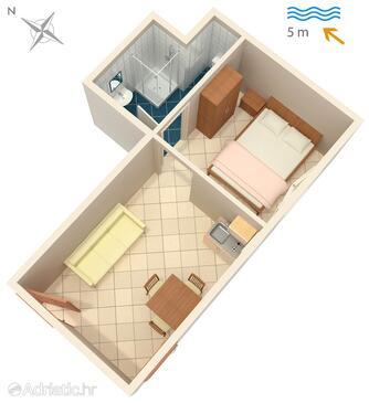 Luka Dubrava, Plan in the studio-apartment, dopusteni kucni ljubimci i WIFI.