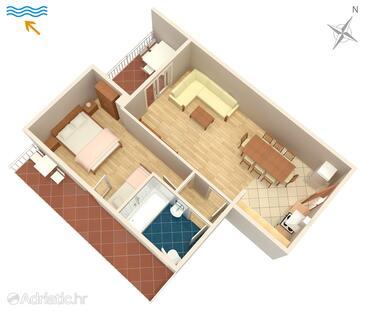 Žuljana, Alaprajz szállásegység típusa apartment, háziállat engedélyezve és WiFi .