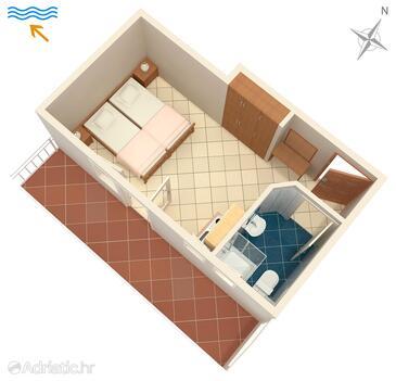 Žuljana, Plan kwatery w zakwaterowaniu typu studio-apartment, zwierzęta domowe są dozwolone i WiFi.