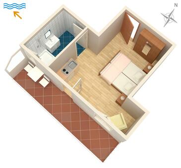 Žuljana, Plan in the studio-apartment, (pet friendly) and WiFi.